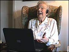 Woman using voice-over IP
