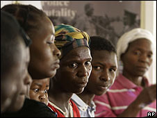 Women from Nyamapanda 300 km north of Harare, attend a press conference in Harare, Tuesday, April, 29, 2008