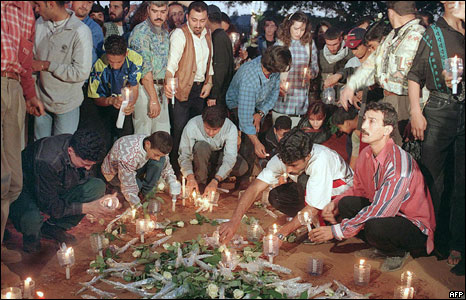 The burial site of refugees massacred in Beirut's Sabra and Shatila camps.