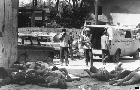 Bodies of Palestinians after the Sabra and Shatila massacre, 1982