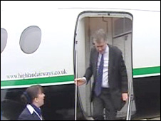 Ieuan Wyn Jones emerging from the plane