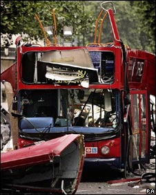 Remains of a bus after the 7 July attacks