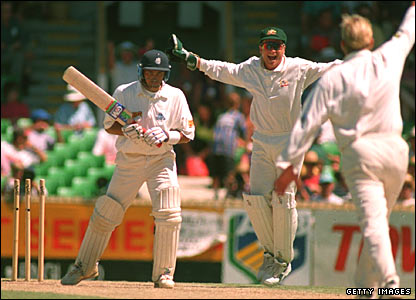 Mark Ramprakash is bowled by Shane Warne at the Waca