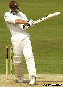 Mark Ramprakash pulls a short ball for Surrey