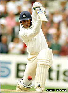 Mark Ramprakash drives off the front foot