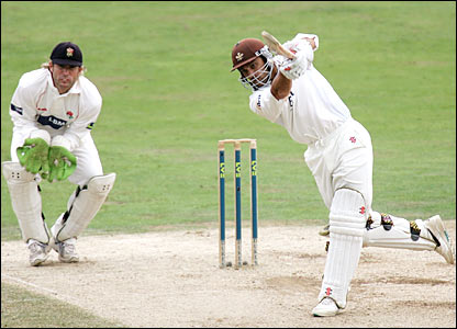 Mark Ramprakash hits out against Lancashire on the final day of the season