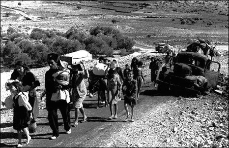 Palestinian refugees stream from newly founded Israeli state to Lebanon, Novement 1948