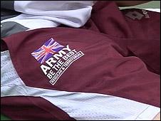 Army logo on sports kit