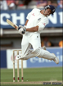Mark Ramprakash evades a bouncer for England against the West Indies