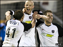 Gavin Skelton celebrates his late winner for Gretna