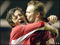 Ivan Sproule and Lee Trundle celebrate Bristol City's first goal