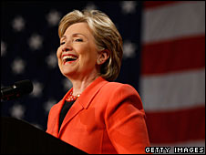 Hillary Clinton addresses a victory rally in Charleston, West Virginia, 13 May 2008