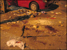 Blood on road after bomb blast, Jaipur