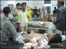 Injured people in Jaipur hospital after bomb blasts