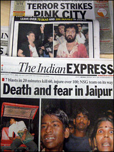 Newspaper headlines on the blasts in Jaipur on May 14 2008