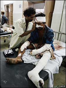 A man injured in the blasts in Jaipur on May 14 2008