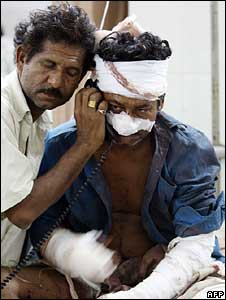 Injured victim of blast in hospital