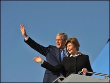 President George W Bush and First Lady Laura Bush