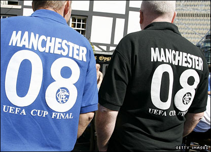 Thousands of Rangers fans have descended on Manchester for Wednesday's Uefa Cup final at the City of Manchester Stadium