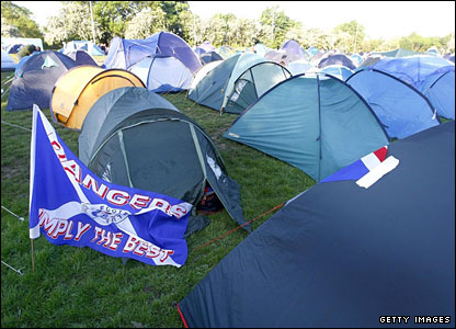 Some Rangers fans camped overnight at Burnage Rugby Club because most hotels in Manchester are booked up
