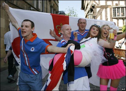 There is a party atmosphere in the centre of Manchester where many Gers fans have gathered