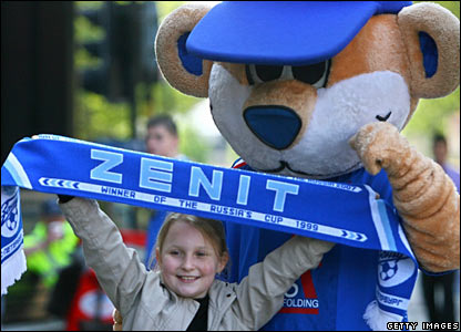 There are a few thousand Zenit fans in the city too but they are vastly outnumbered by their Rangers counterparts