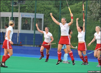GB women celebrate their win