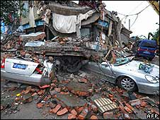 Buildings destroyed by the quake