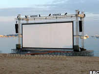Beachfront cinema screen