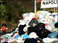 Piles of rubbish on the outskirts of Naples, Italy