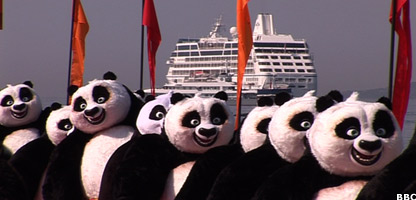 People in panda auits in Cannes