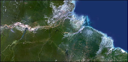 Imagen satelital del delta del Amazonas.  Foto: Science Photo Library.