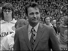 Brian Clough, manager of Leeds United, at the FA Charity Shield in August 1974