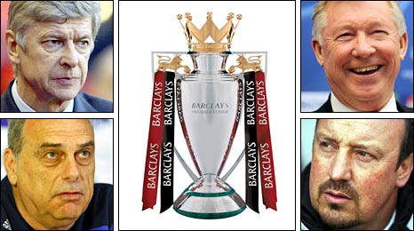Arsene Wenger (top left), Avram Grant (bottom left), Sir Alex Ferguson (rop right) and Rafael Benitez (bottom right) fought it out for the title