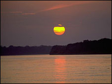 Sunset in the Amazon region of Peru