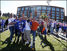 Rangers fans in Manchester city centre