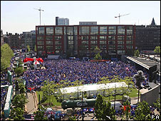 Rangers fans in Piccadilly Gardens