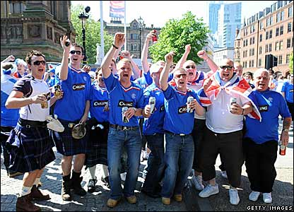 Around 120,000 Gers fans are expected to arrive in Manchester ahead of the game and they are making their presence felt