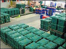Boxes waiting to go at the Shelterbox warehouse in Helston, Cornwall