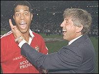 Ian McGeechan (right) celebrates the Lions victory in South Africa in 1997 with Jeremy Guscott