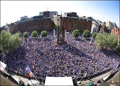The Albert Square fanzone is full to bursting