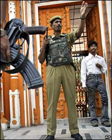 Central Reserve Police Force soldier on guard at temple in Jammu