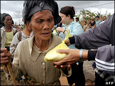 Burmese woman receives food aid in Dedaye, 130km south-west of Rangoon - 14/5/2008