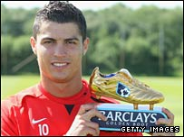 Cristiano Ronaldo lifts his Golden Boot award