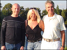Dan Shepherd (left) with his mother, Janet, and her partner, Brian Mitchell