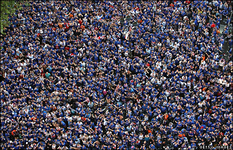 Glasgow Rangers fans gather in Manchester's Albert Square to watch their team compete in football's Uefa Cup final against Zenit St Petersburg.