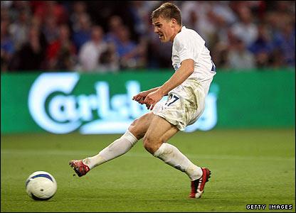 Igor Denisov races through the Rangers defence before slotting the ball home