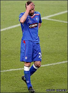 Rangers defender Carlos Cuellar shows his frustration