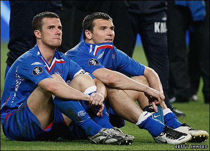 Rangers captain Barry Ferguson looks dejected with Lee McCulloch