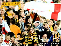 Hull fans celebrate the win over Watford